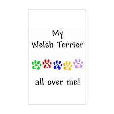 Welsh Terrier Walks Rectangle Decal