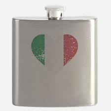 Distressed Italian Flag Heart Flask