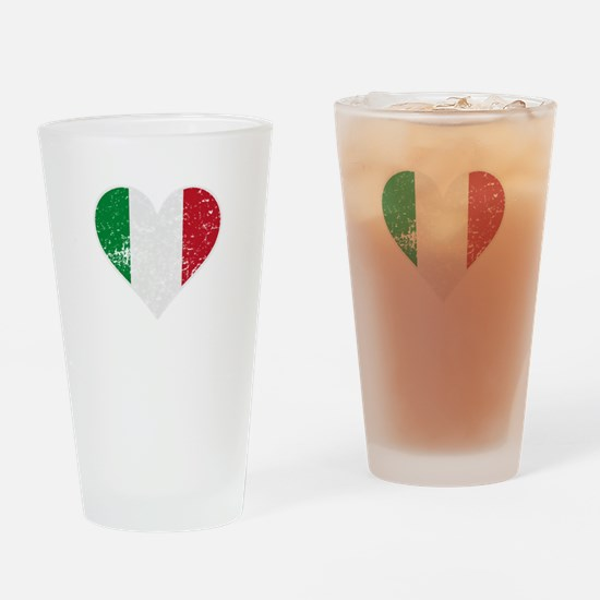 Distressed Italian Flag Heart Drinking Glass