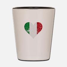 Distressed Italian Flag Heart Shot Glass