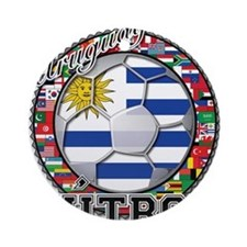 Uruguay Flag World Cup Futbol Ball with World Flag