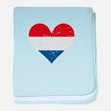 Distressed Dutch Flag Heart baby blanket