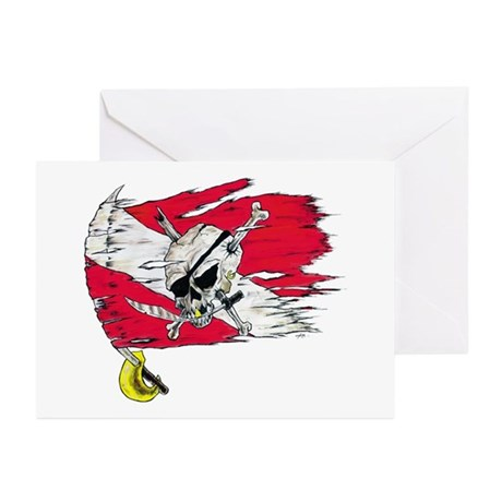 Red Dive Flag Skull Greeting Cards (Pk of 10)
