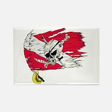Red Dive Flag Skull Rectangle Magnet