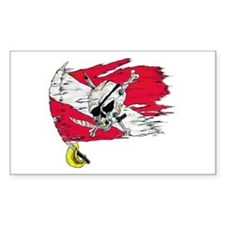 Red Dive Flag Skull Rectangle Decal