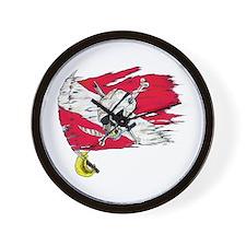 Red Dive Flag Skull Wall Clock