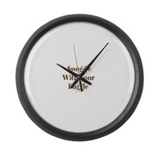 Snuggle With Your Puggle Large Wall Clock