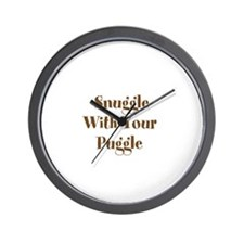 Snuggle With Your Puggle Wall Clock