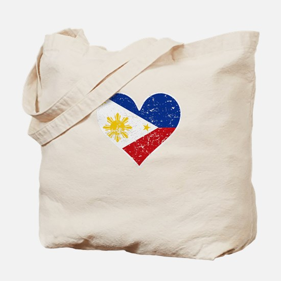 Distressed Filipino Flag Heart Tote Bag