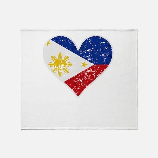 Distressed Filipino Flag Heart Throw Blanket