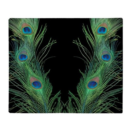 Black and Green Peacock Throw Blanket