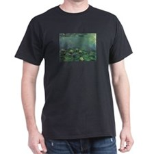 Water Lilies Black T-Shirt