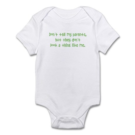 """don't tell my parents"" infant bodysuit"