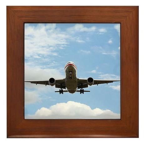 Jet Coming In for a Landing Framed Tile