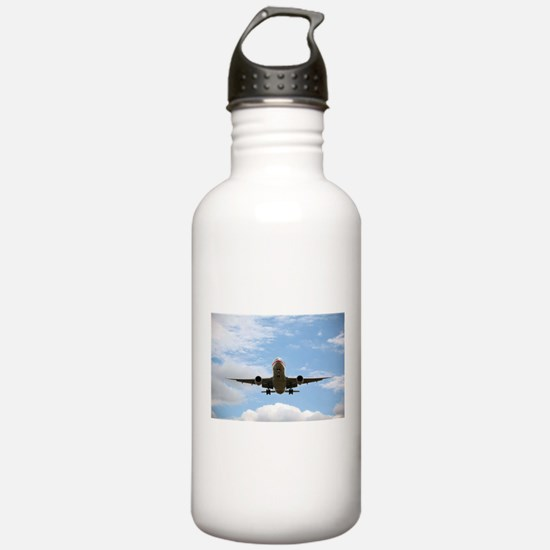Jet Coming In for a Landing Water Bottle