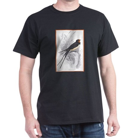 Chimney Swallow Bird (Front) Black T-Shirt