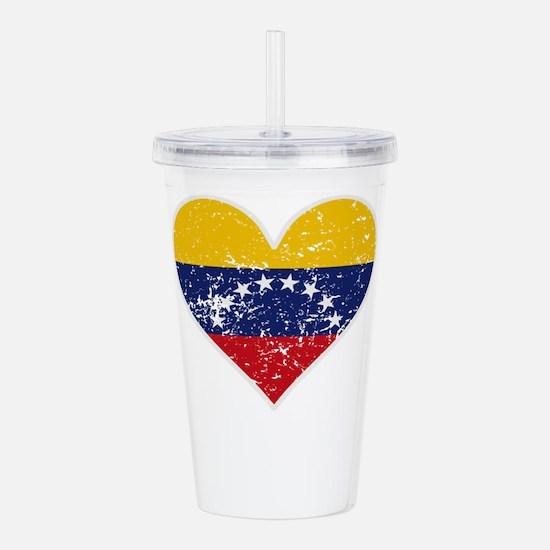 Distressed Venezuelan Flag Heart Acrylic Double-wa