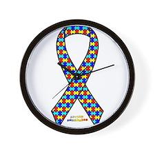 Autism Awareness Ribbon Wall Clock