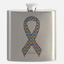 Autism Awareness Ribbon Flask