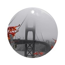 Golden Gate Bridge with Orange Ornament (Round)