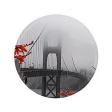 """Golden Gate Bridge with Orange 3.5"""" Button"""
