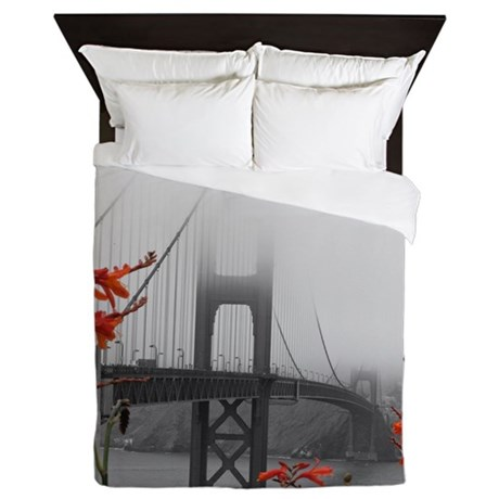 Golden Gate Bridge with Orange Queen Duvet