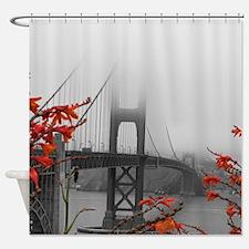 Golden Gate Bridge with Orange Shower Curtain
