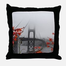 Golden Gate Bridge with Orange Throw Pillow