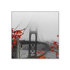 "Golden Gate Bridge with Orange Square Sticker 3"" x"