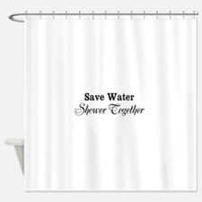 Funny save water shower together shower curtain