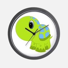 Blue and Green Baby Turtle Wall Clock