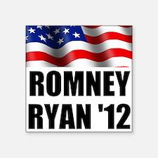"Romney Ryan 12, Waving Flag Square Sticker 3"" x 3"""