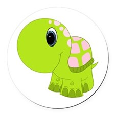 Pink and Green Baby Turtle Round Car Magnet