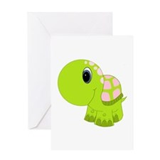 Pink and Green Baby Turtle Greeting Card