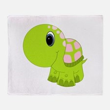 Pink and Green Baby Turtle Throw Blanket