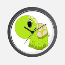 Pink and Green Baby Turtle Wall Clock