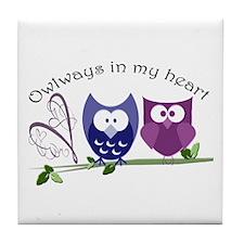 Owlways in my heart Tile Coaster