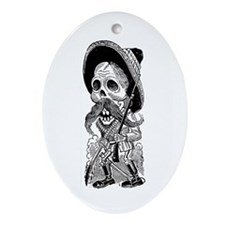 Zapatista Calavera Oval Ornament