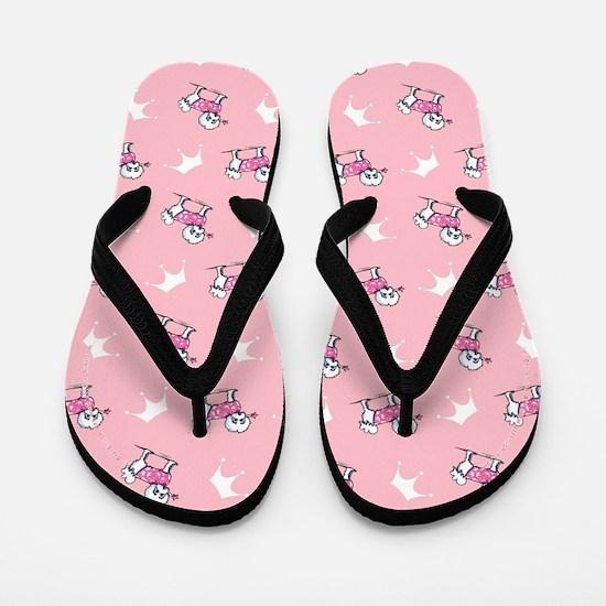 Maltese n Tiaras Pink Flip Flops