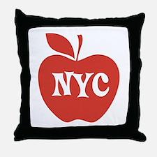 New York CIty Big Red Apple Throw Pillow