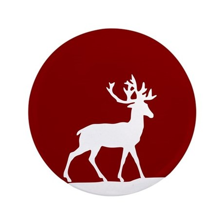 """Deer in the snow 3.5"""" Button (100 pack)"""