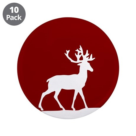 """Deer in the snow 3.5"""" Button (10 pack)"""