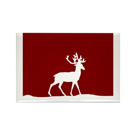 Deer in the snow Rectangle Magnet (100 pack)