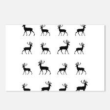 Deer silhouette pattern Postcards (Package of 8)