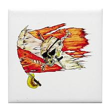 Scuba Diving Flag Skull Caribbean Tile Coaster