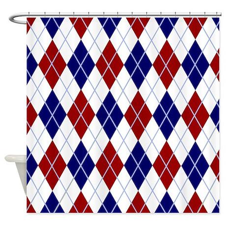 Red And Blue Argyle Shower Curtain By Ellejai