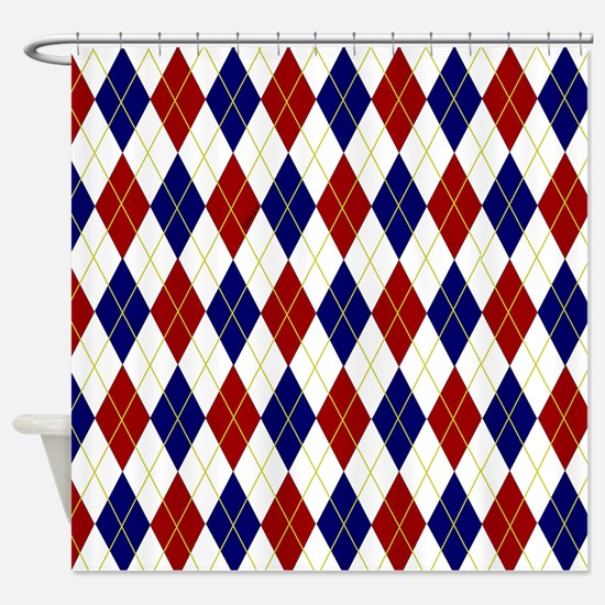 Red and Blue Argyle Shower Curtain