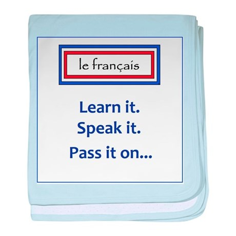 French Learn, Speak, Pass baby blanket