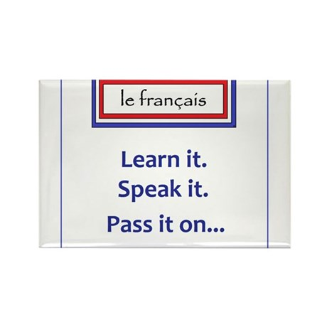 French Learn, Speak, Pass Rectangle Magnet