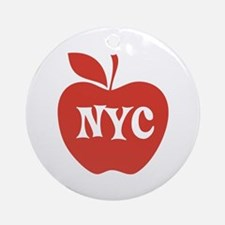 New York CIty Big Red Apple Ornament (Round)